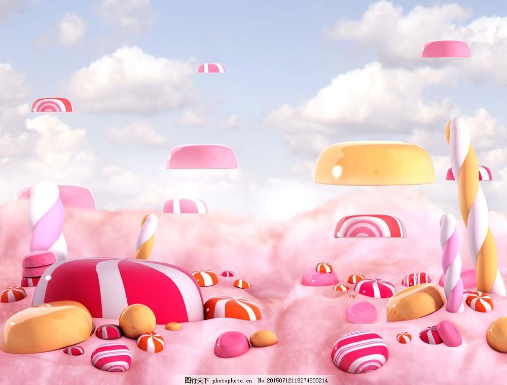 彩色糖果食物背景 美食 点心 天空 彩色背景 卡通背景 其他类别