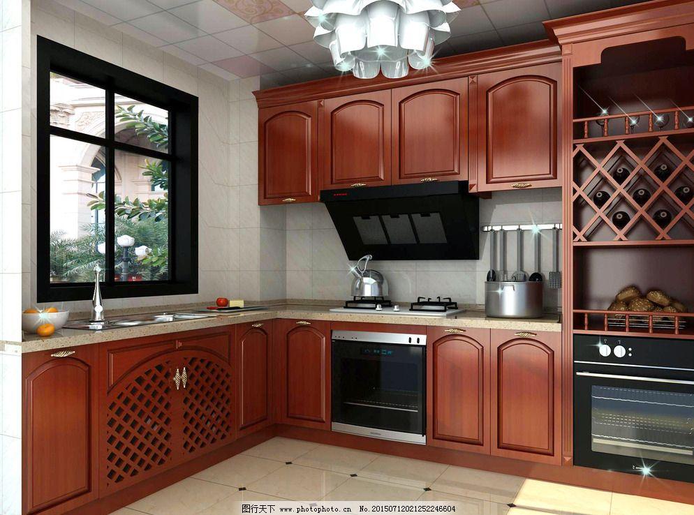 实木厨房 家装效果图图片