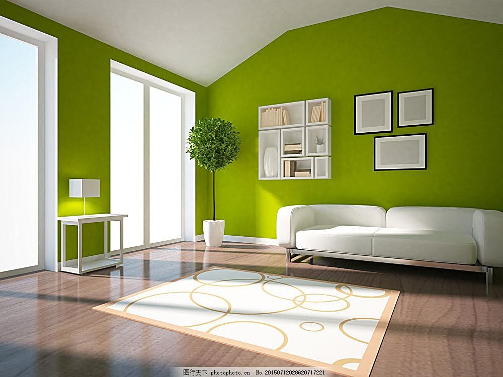 绿色清新风格客厅装饰 绿植 沙发      时尚装饰 现代主义风格 极简风