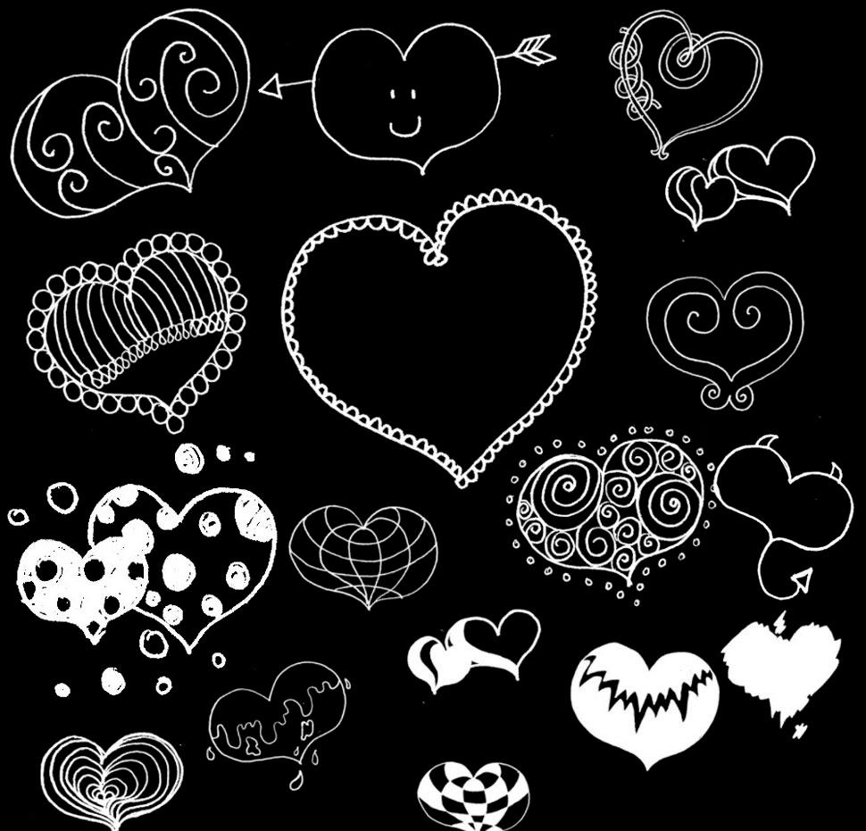 漂亮的手绘心形装饰笔刷