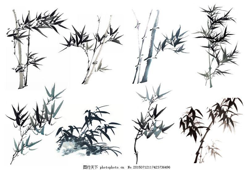 水墨竹子图片素材合辑,水墨画 中国画 竹叶 高清图片