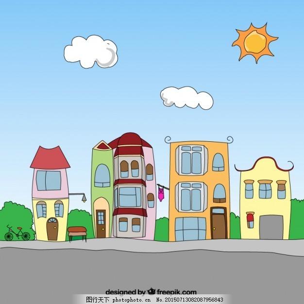 动漫社区 城市 卡通 手绘 街道 建筑 城市建筑 邻里 邻居 ai 灰色 ai