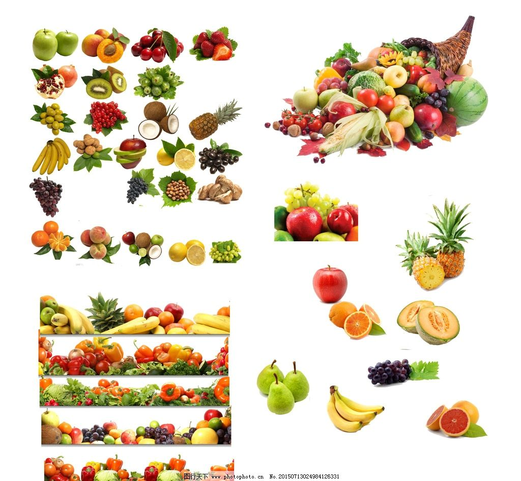 水果大全 苹果 香蕉 菠萝 蓝莓 葡萄 橙子 哈密瓜 杏 桃子 蔬果 蔬菜
