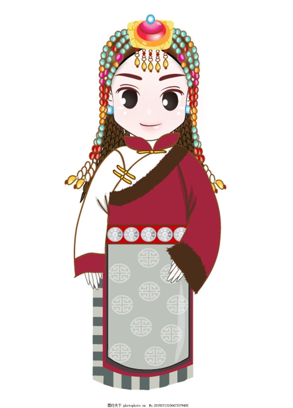 头饰 少数民族 藏族 q版人物 卡通人物 娃娃 眼睛 金童玉女 节日 小孩