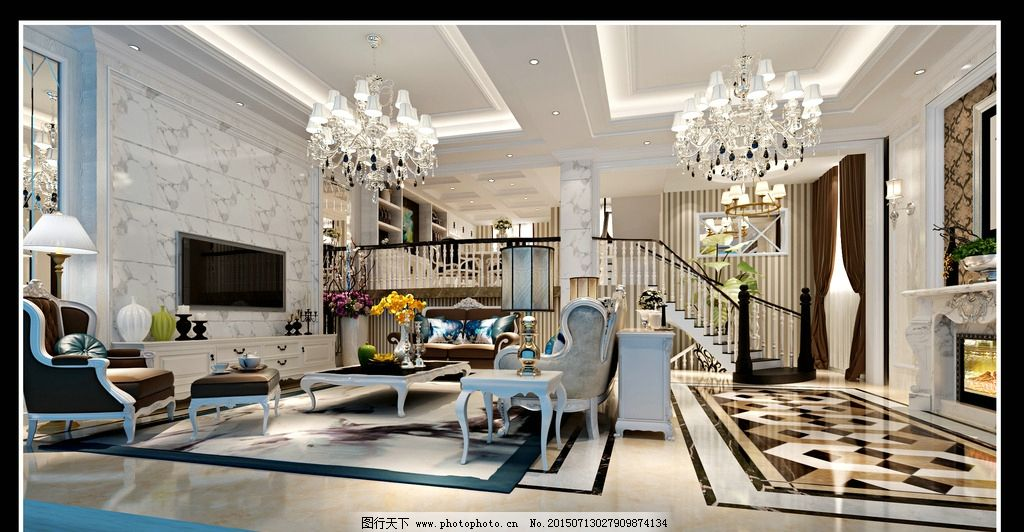 欧式错层别墅客厅图片