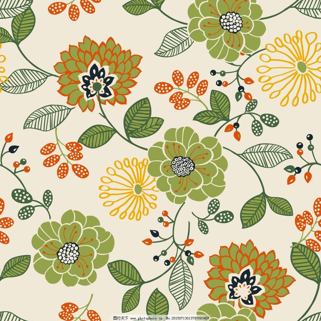 大花朵 四方连续 大花朵 缠枝花 四方连续 服装设计 图案花型