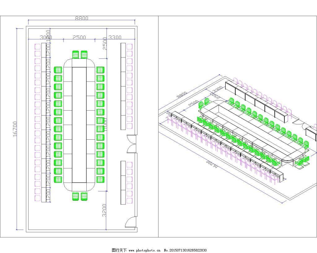 经典cad室内会议室布局平面设计图纸