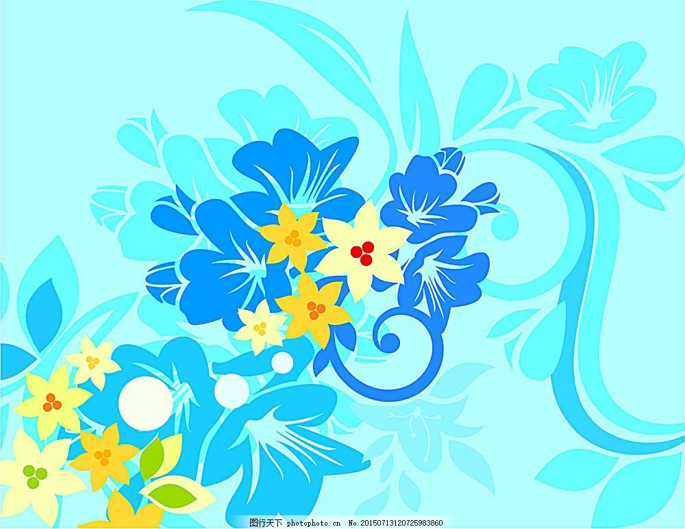 矢量花纹素材 免费素材 花纹花边 底纹边框 矢量素材 eps 青色 天蓝色