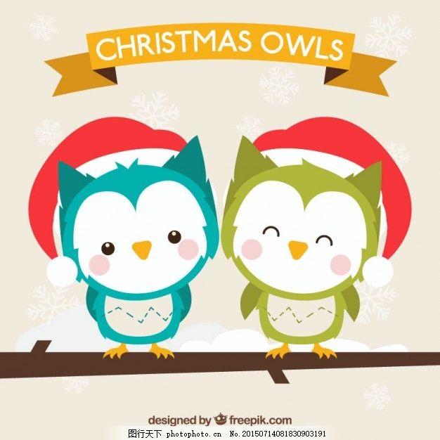 圣诞节可爱的猫头鹰 圣诞节 鸟 动物 圣诞快乐 冬天快乐 猫头鹰 可爱