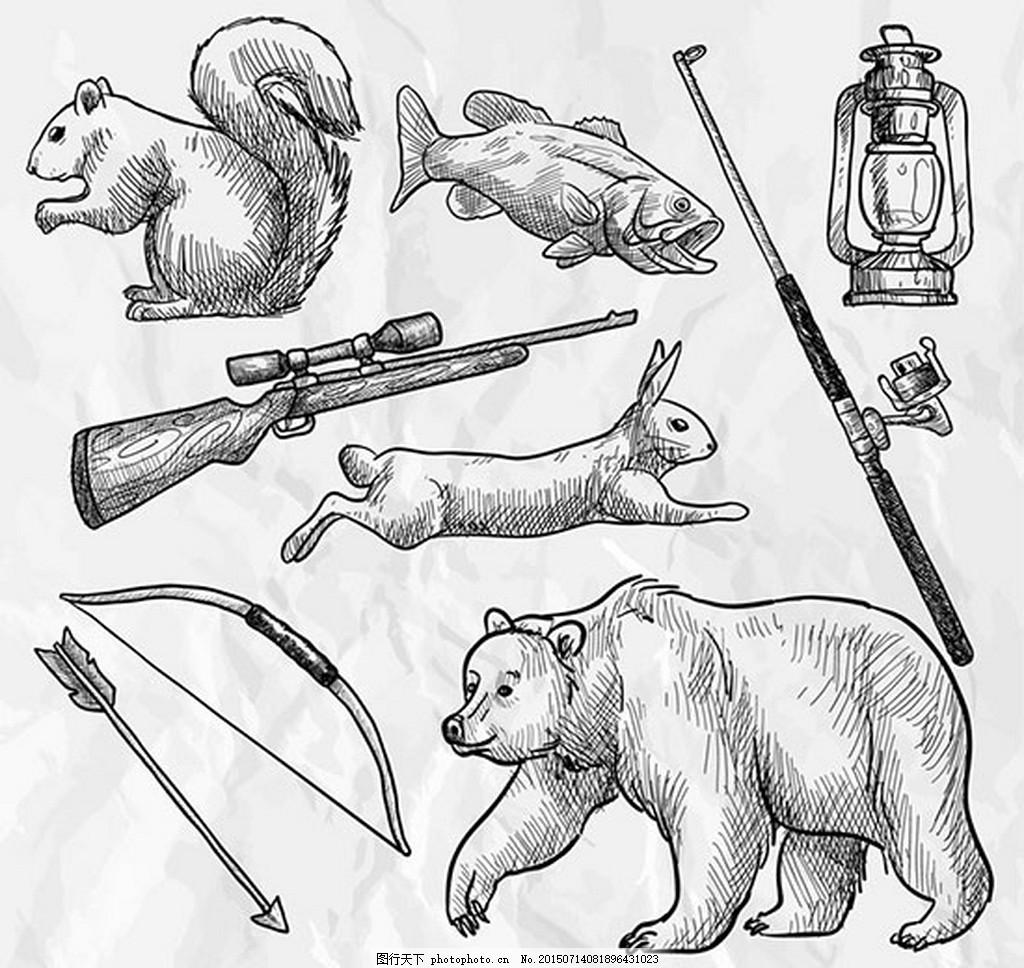 手绘森林狩猎元素矢量图片 ai 黑白 动物 白色