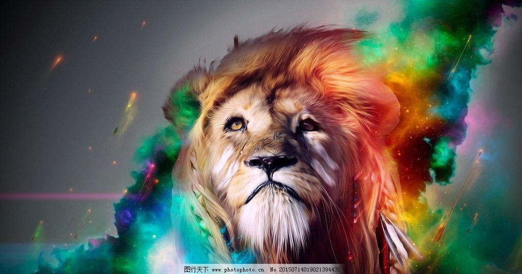 狮子 手绘动物 线描 素描 野生动物 卡通 可爱 矢量 美术绘画