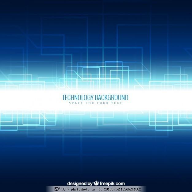背景 抽象 技术 蓝色背景 蓝色 霓虹灯 技术背景 电路 风格 明亮 有