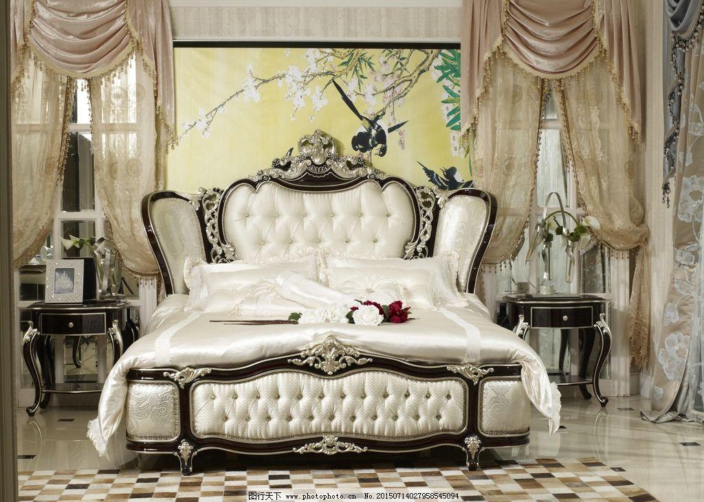 描金 欧式床 典雅 高贵 实木 床 摄影 建筑园林 室内摄影 欧式家具图片