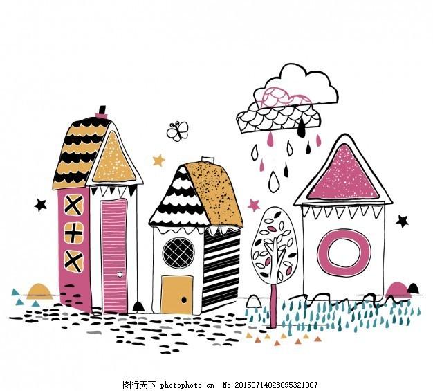 彩色手绘房屋 树 抽象 房子 蝴蝶 家秋 手画 雨 白色