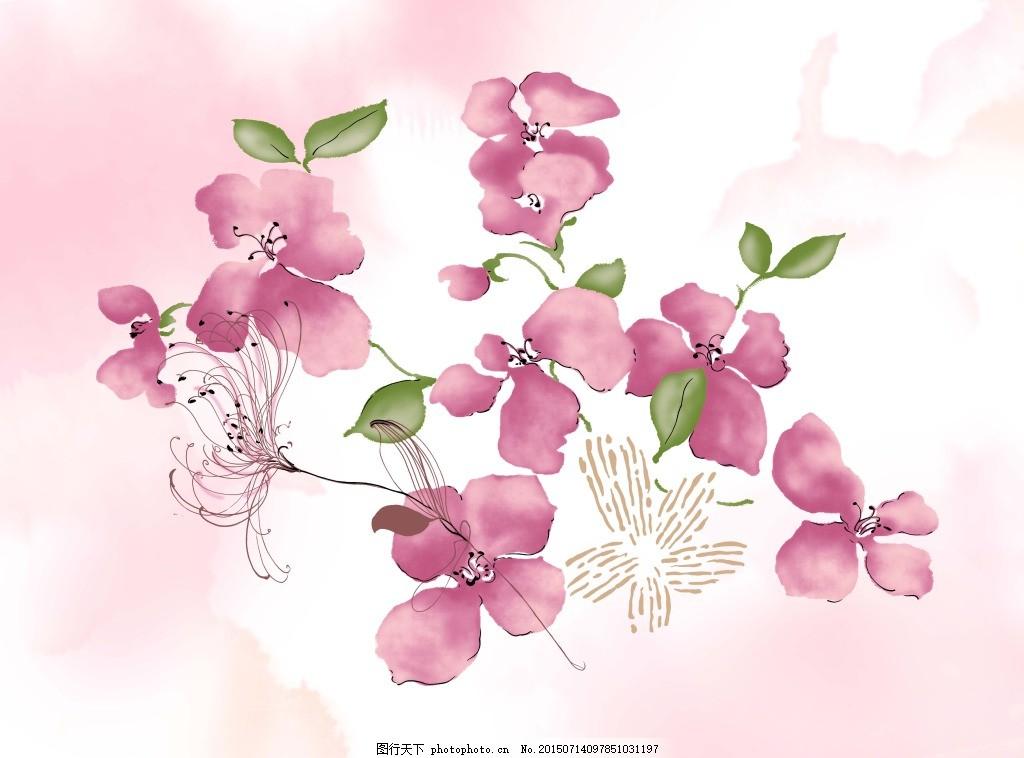 手绘装饰画 鲜花 分层 红色 绿色 粉色 白色