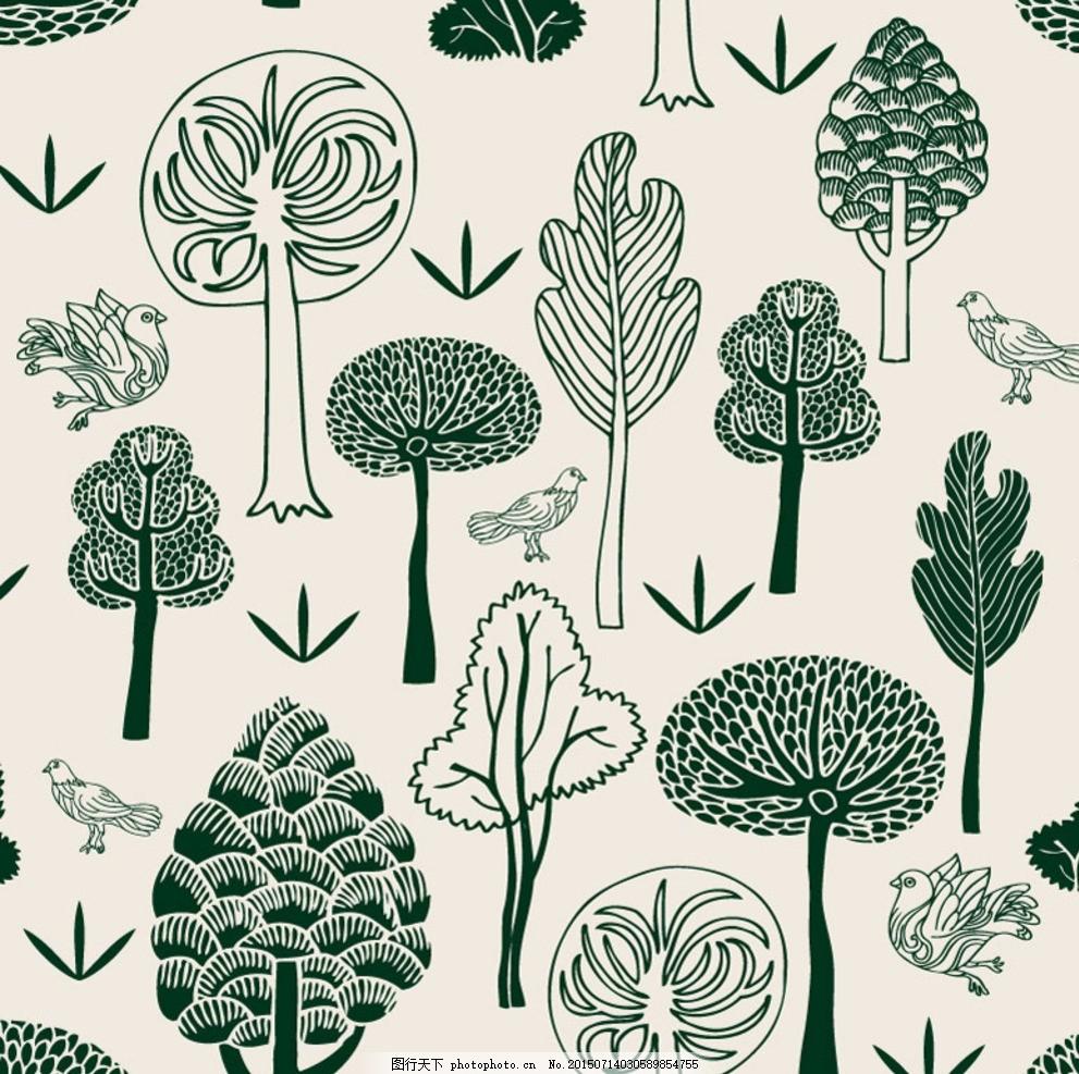 绿色手绘森林鸽子 树木 鸟 植物 无缝背景 矢量图 花边花纹