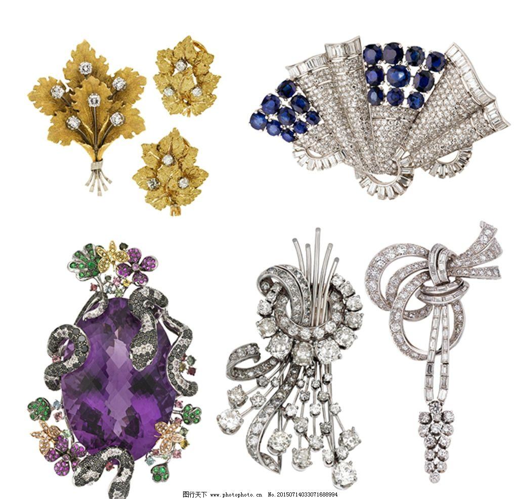 钻石镶嵌 花卉胸针 蛇形胸针 紫水晶 扇形胸针 珠宝首饰 设计 psd分层