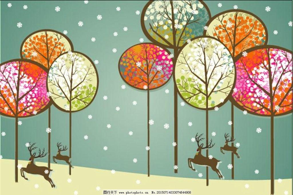 麋鹿森林卡通壁画图片