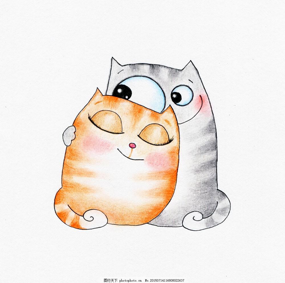 可爱彩绘猫咪 动物 猫咪 儿童画 卡通 可爱 彩铅 彩绘 绘画 背景 其他