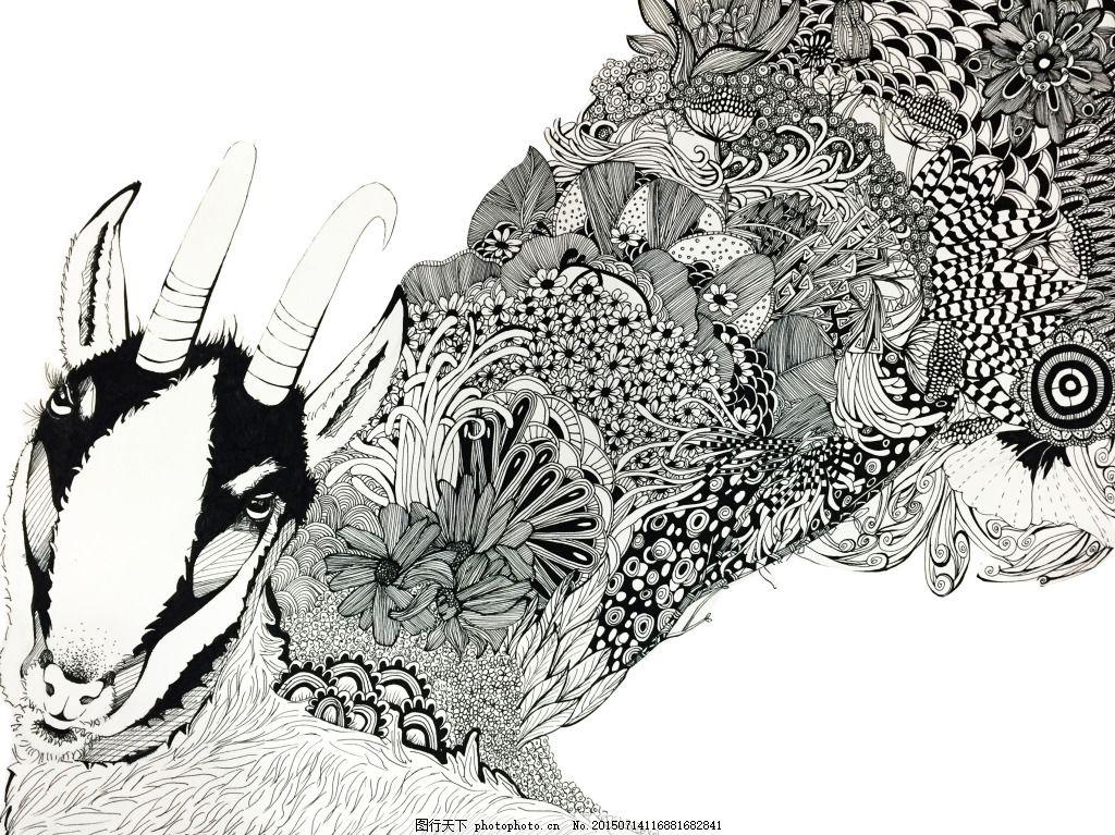 羚羊手绘 黑白 线描 手绘 插画 动物 植物     白色 jpg