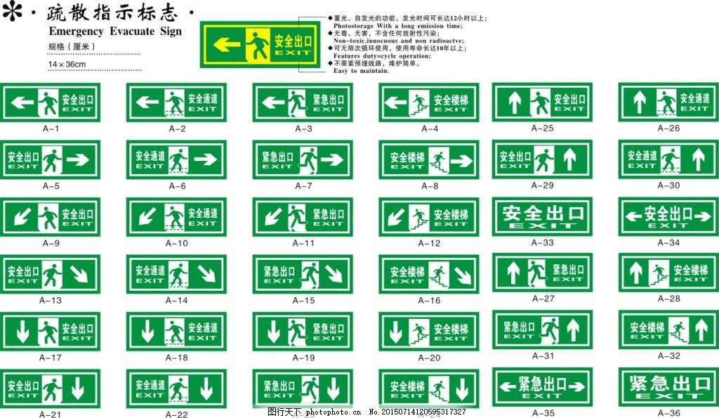 安全通道 安全出口 逃生通道 公共标识 指示牌 标志 平昌公共标志