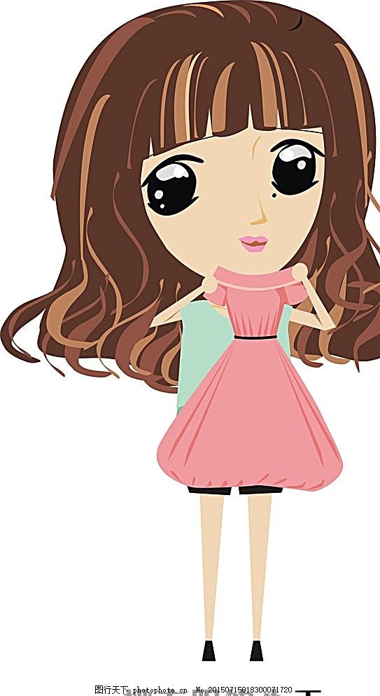 挑衣服的小王 卡通 小孩 女孩 裙子 粉色裙子 可爱的 害羞的 背包橙色