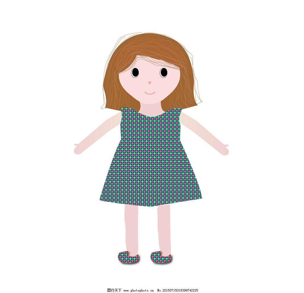 手绘穿裙子的女孩图片