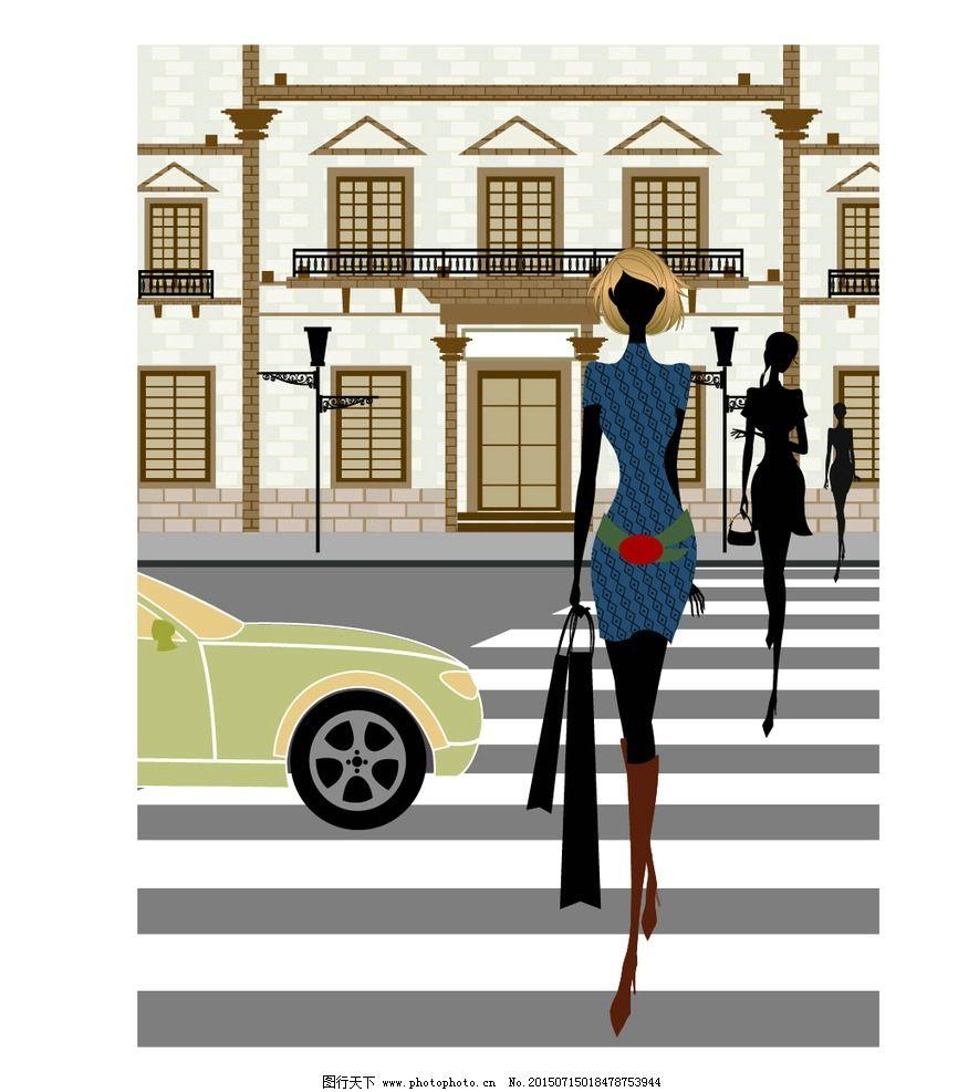 卡通手绘马路场景