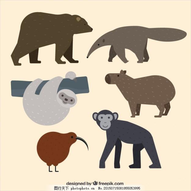 手绘森林动物