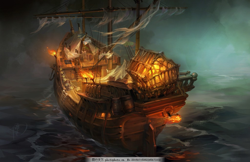 手绘 彩绘 插画 海盗船 海盗 游戏 卡通     黑色 jpg