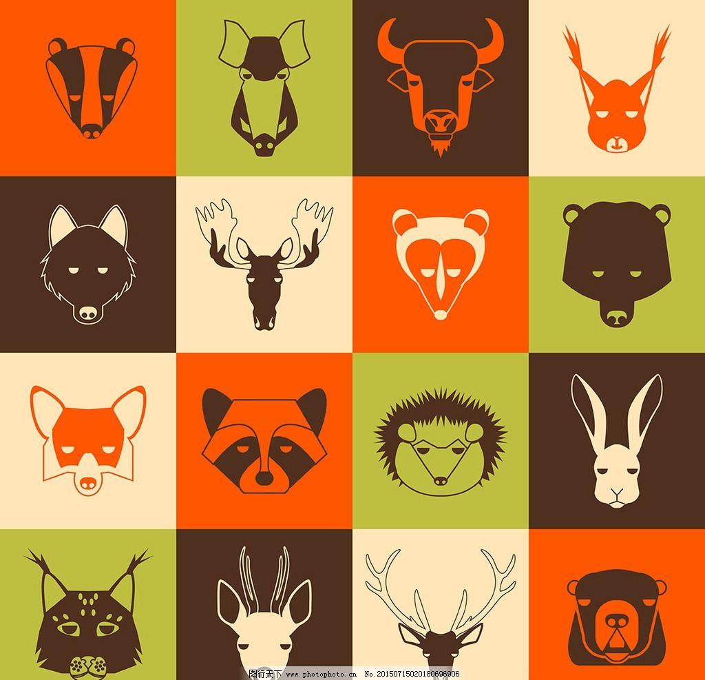 动物头像图标 狐狸 牛鹿熊 兔子 刺猬 熊猫 狸猫 羚羊 山羊