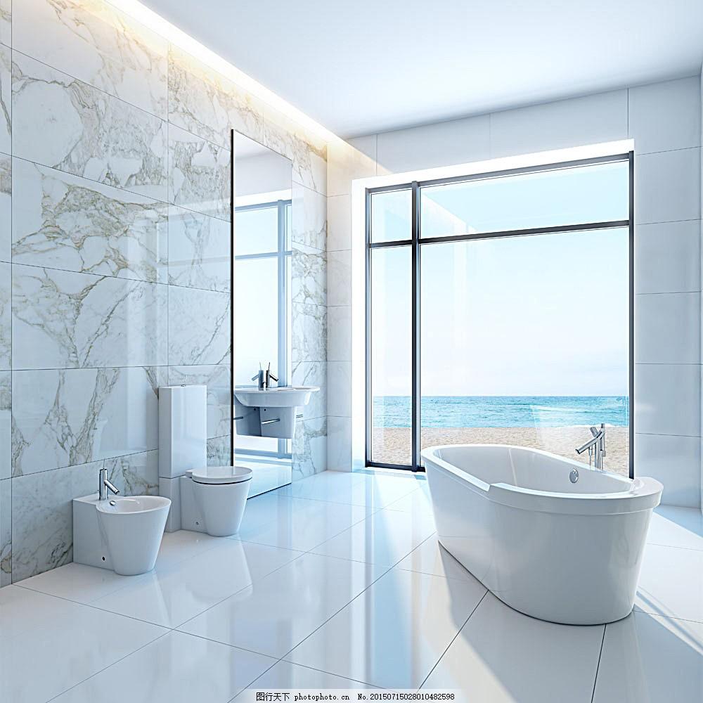 白色浴室装修设计 浴缸 装饰 室内设计 环境家居 图片素材