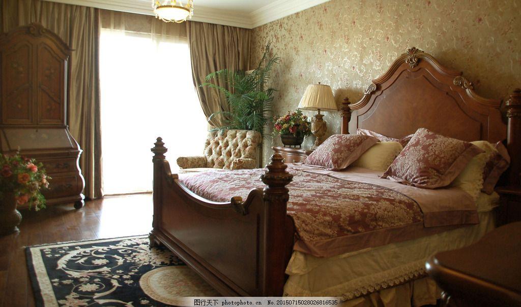 欧式豪华床 卧室 床铺 黑色图片