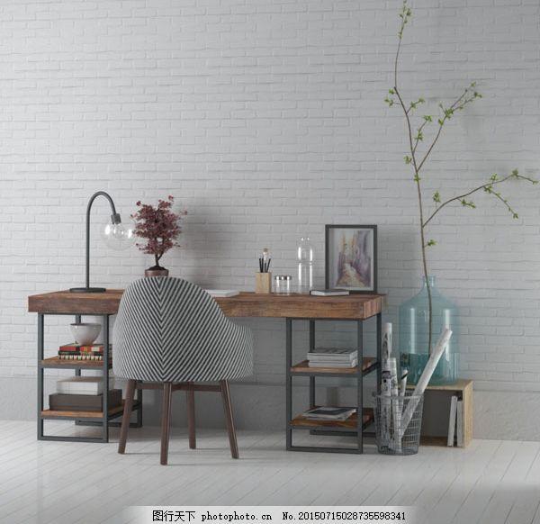 室内书桌3d模型素材