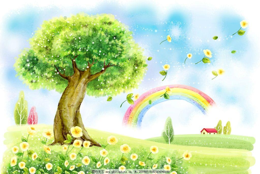 卡通彩虹大树背景图片