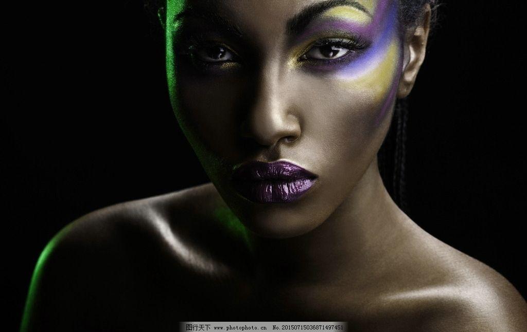时尚黑人 容颜 化妆 妆容 美容 时尚妆容 黑人美女 人体 艺术 彩妆图片