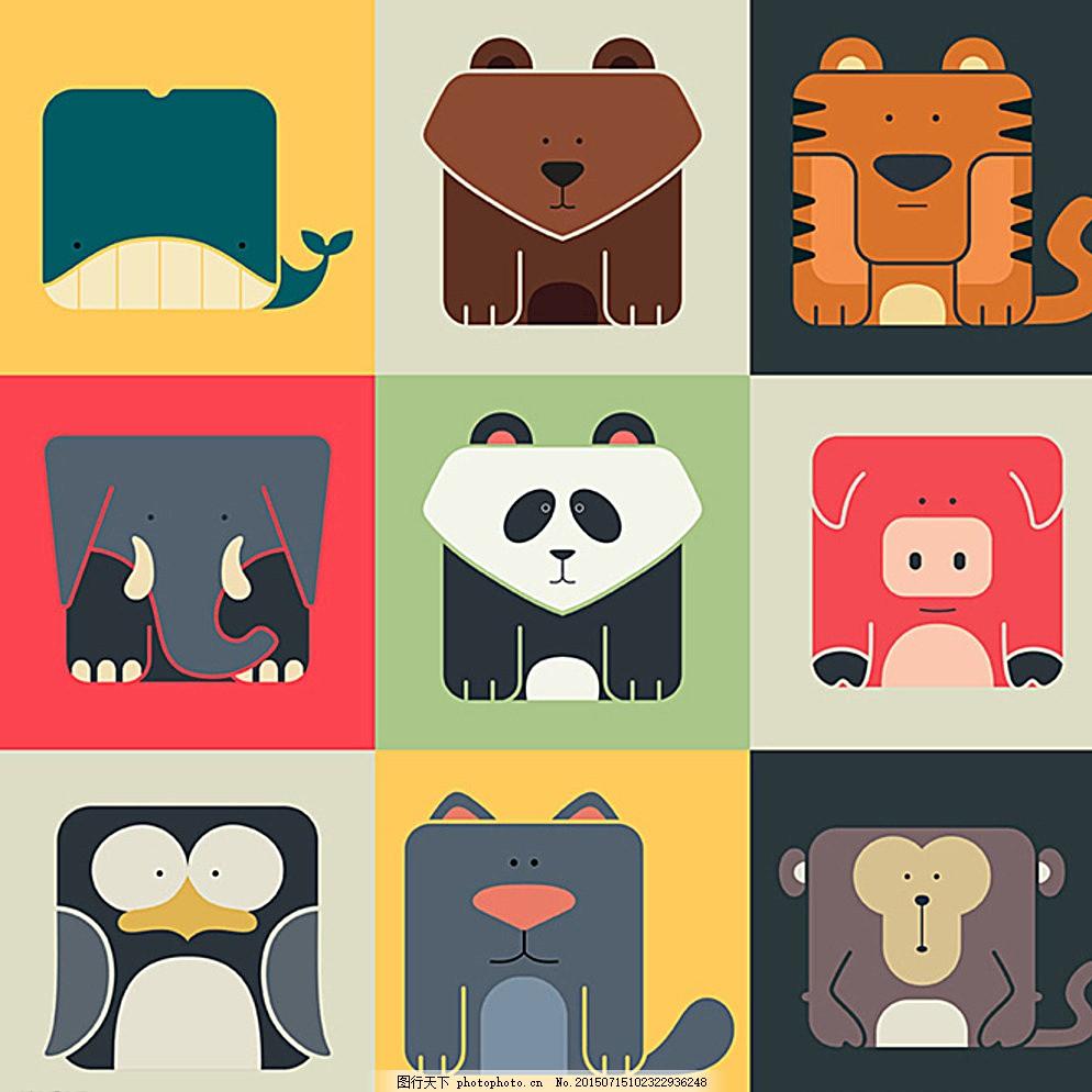 卡通动物图标 矢量素材 扁平化图标 头像 大象 熊猫 企鹅 鲨鱼