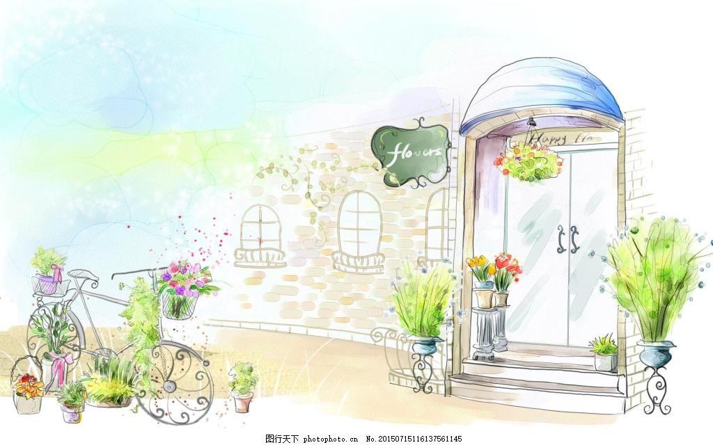 卡通建筑手绘动漫 色彩 彩色图片 房屋 自行车 街景 背景 插图