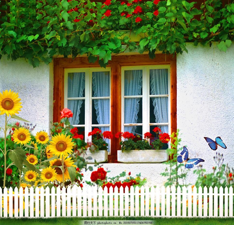 开满鲜花的窗户影楼摄影背景 影楼素材 影楼背景 喷绘背景 高清背景图片