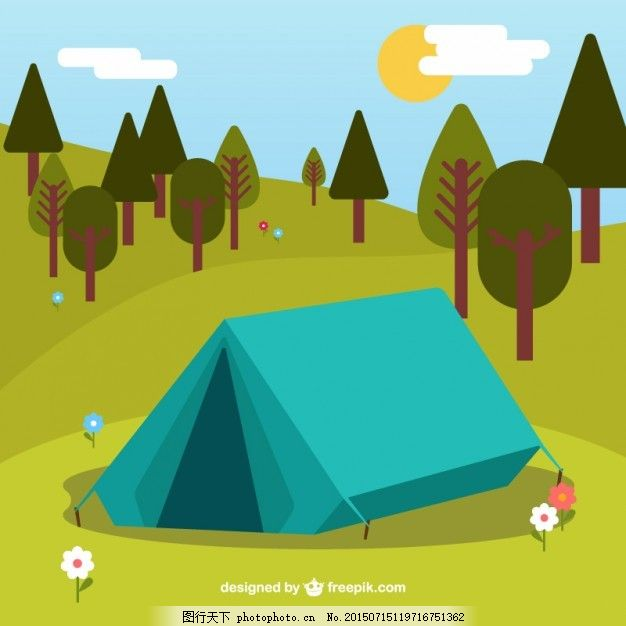 手绘绿色帐篷营地 背景 花 太阳 自然 山 花背景 平坦 森林