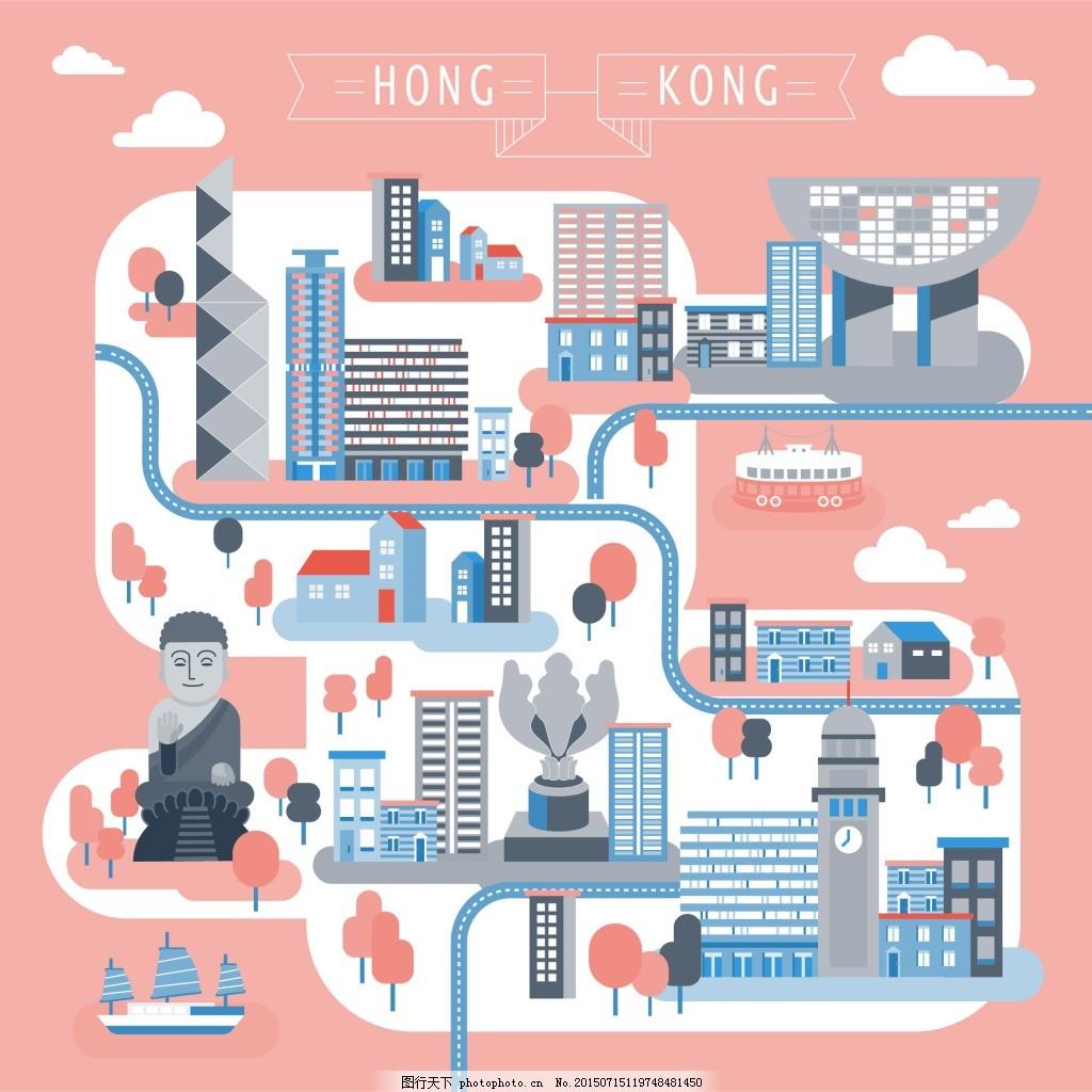 路线图 卡通地图 卡通路线图 香港路线图 旅游景点 扁平化地图 地图