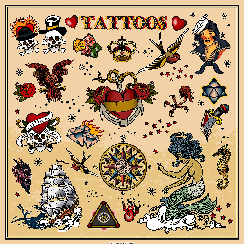 美人鱼海盗船纹身图案设计