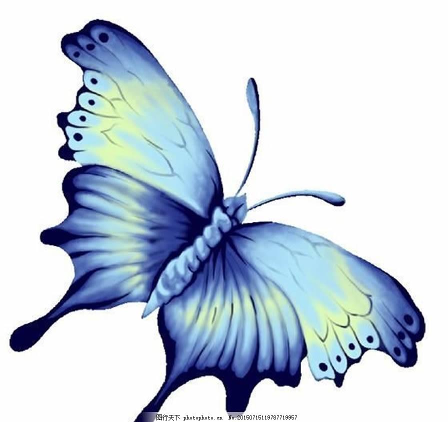 彩绘蓝色蝴蝶 昆虫 彩绘蝴蝶 手绘蝴蝶 蝴蝶图案 服装图案 逼真的蝴蝶