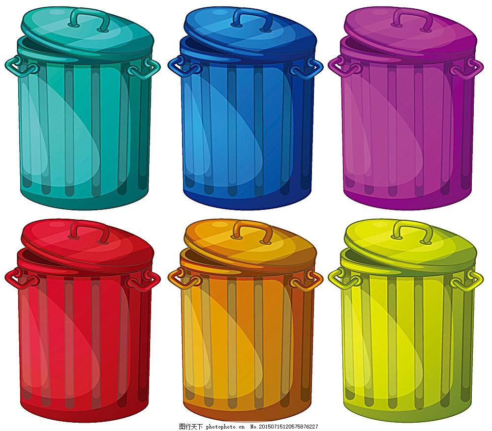 彩色垃圾桶图案