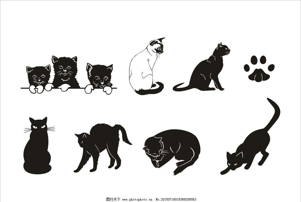 矢量 动物 黑白 猫 cdr 矢量 设计 标志图标 其他图标 cdr