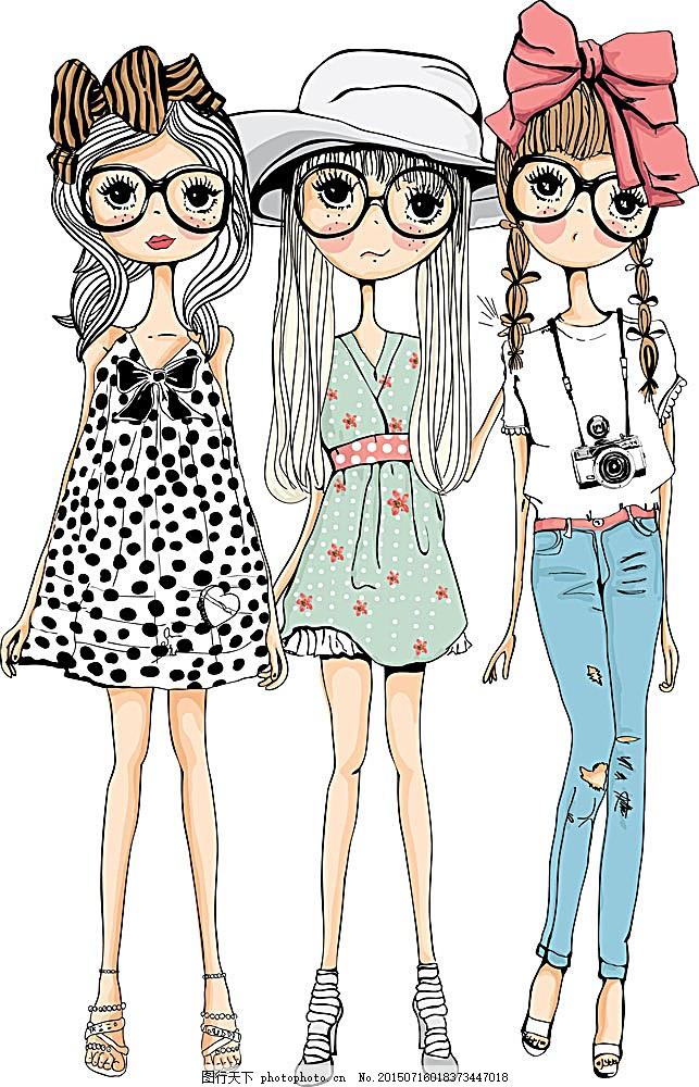 戴眼镜的女孩插画