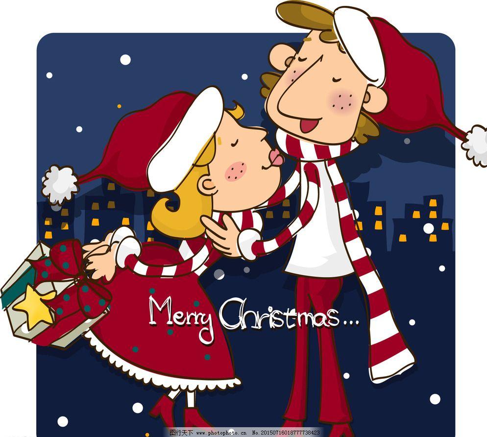 圣诞女孩系列卡通漫画插图图片