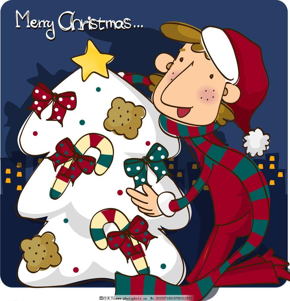 圣诞男孩系列卡通漫画插图图片