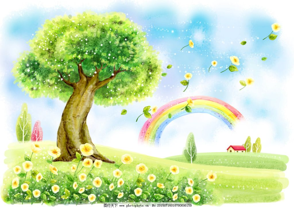 卡通彩虹免费下载 彩虹 大树 卡通 唯美 卡通 唯美 彩虹 大树 图片