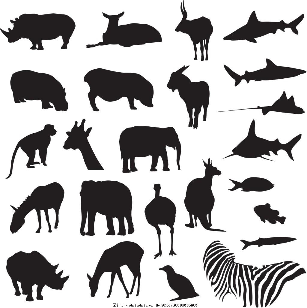 动物黑白剪影